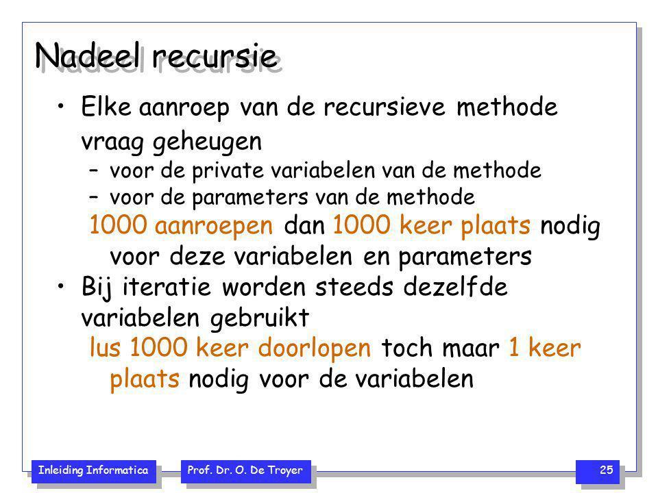 Inleiding Informatica Prof. Dr. O. De Troyer 25 Nadeel recursie Elke aanroep van de recursieve methode vraag geheugen –voor de private variabelen van
