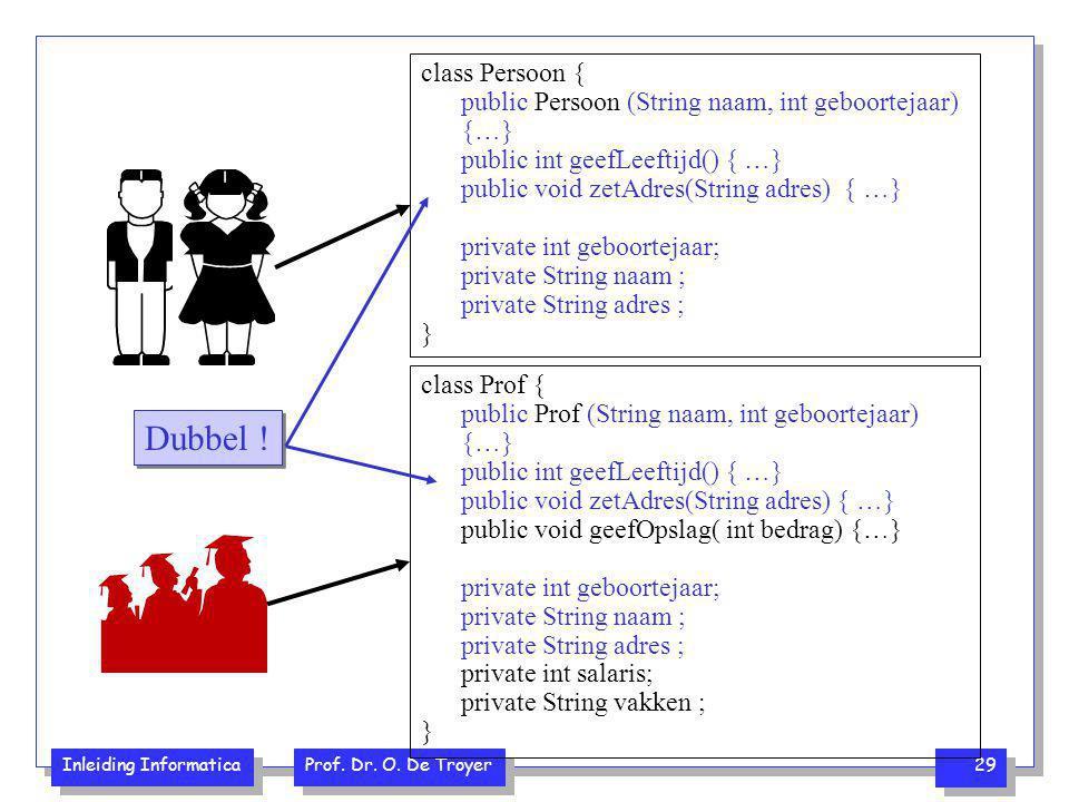 Inleiding Informatica Prof. Dr. O. De Troyer 29 class Persoon { public Persoon (String naam, int geboortejaar) {…} public int geefLeeftijd() { …} publ