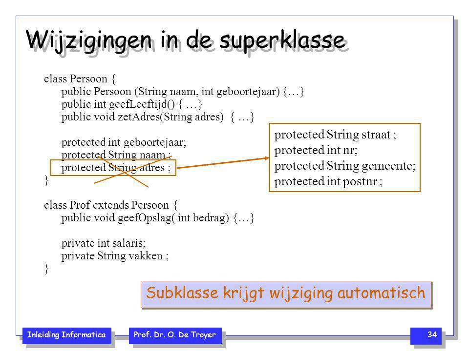 Inleiding Informatica Prof. Dr. O. De Troyer 34 Wijzigingen in de superklasse class Persoon { public Persoon (String naam, int geboortejaar) {…} publi