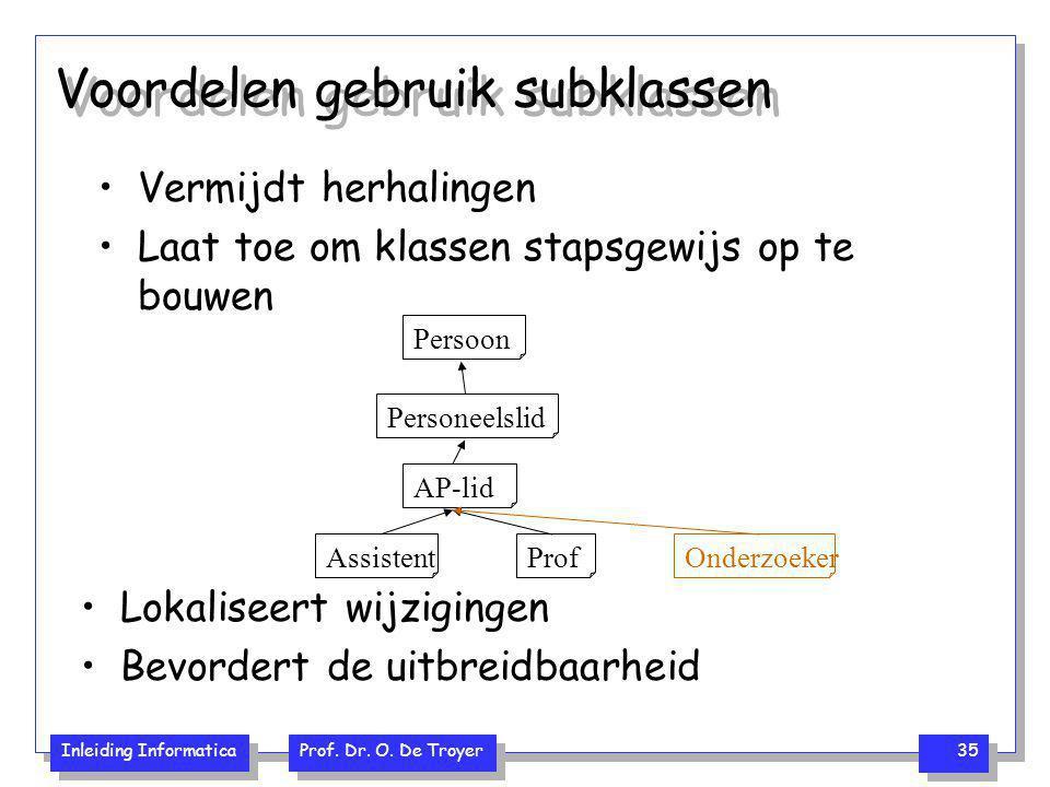 Inleiding Informatica Prof. Dr. O. De Troyer 35 Voordelen gebruik subklassen Vermijdt herhalingen Laat toe om klassen stapsgewijs op te bouwen Persoon