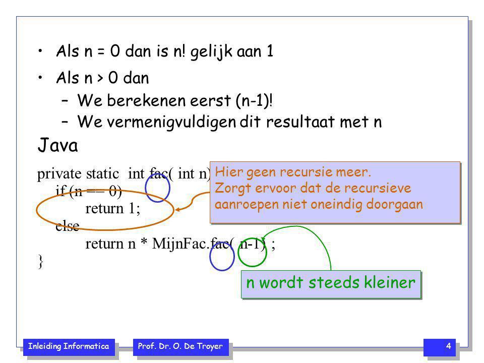 Inleiding Informatica Prof. Dr. O. De Troyer 4 Als n = 0 dan is n! gelijk aan 1 Als n > 0 dan –We berekenen eerst (n-1)! –We vermenigvuldigen dit resu