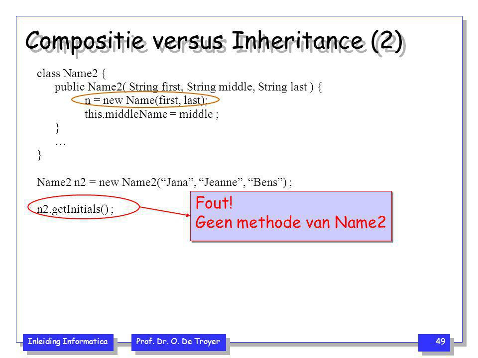 Inleiding Informatica Prof. Dr. O. De Troyer 49 Compositie versus Inheritance (2) class Name2 { public Name2( String first, String middle, String last