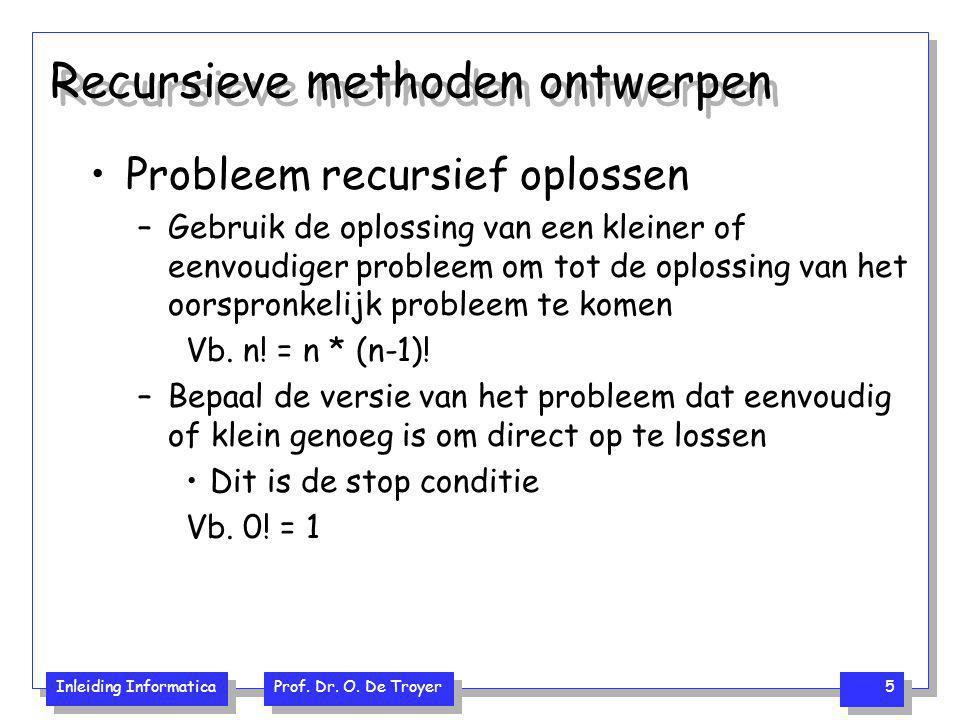 Inleiding Informatica Prof. Dr. O. De Troyer 5 Recursieve methoden ontwerpen Probleem recursief oplossen –Gebruik de oplossing van een kleiner of eenv