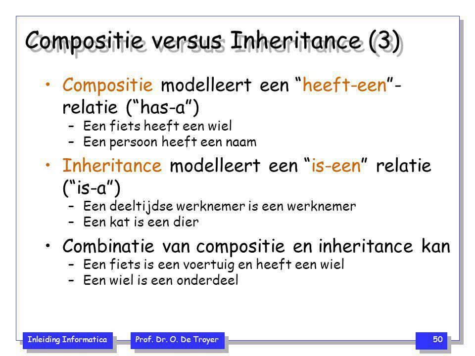 """Inleiding Informatica Prof. Dr. O. De Troyer 50 Compositie versus Inheritance (3) Compositie modelleert een """"heeft-een""""- relatie (""""has-a"""") –Een fiets"""