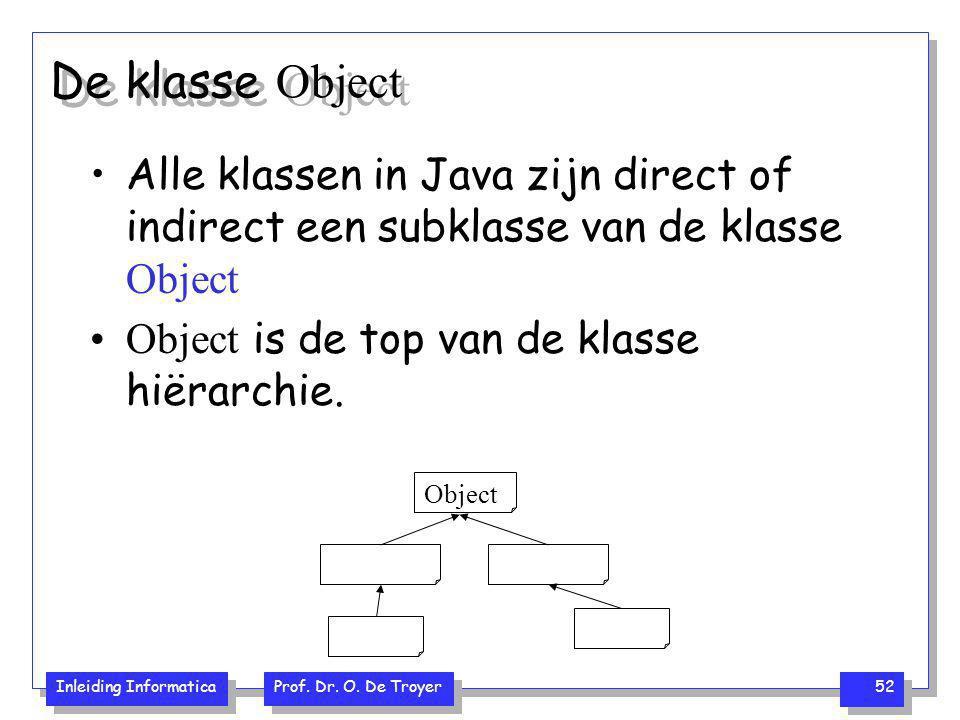 Inleiding Informatica Prof. Dr. O. De Troyer 52 De klasse Object Alle klassen in Java zijn direct of indirect een subklasse van de klasse Object Objec