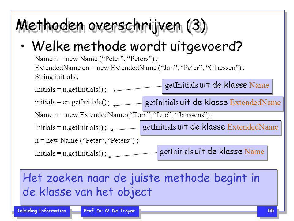 """Inleiding Informatica Prof. Dr. O. De Troyer 55 Methoden overschrijven (3) Welke methode wordt uitgevoerd? Name n = new Name (""""Peter"""", """"Peters"""") ; Ext"""