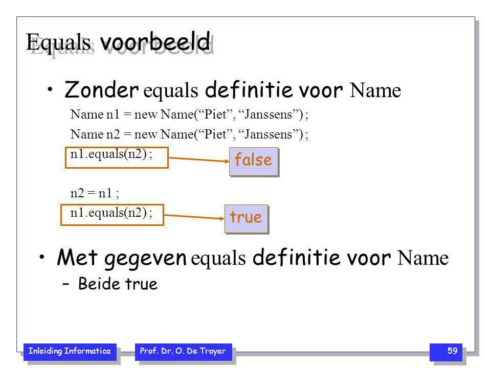 """Inleiding Informatica Prof. Dr. O. De Troyer 59 Equals voorbeeld Zonder equals definitie voor Name Name n1 = new Name(""""Piet"""", """"Janssens"""") ; Name n2 ="""