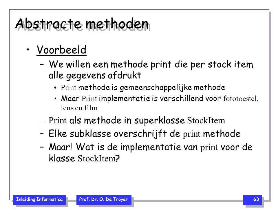 Inleiding Informatica Prof. Dr. O. De Troyer 63 Abstracte methoden Voorbeeld –We willen een methode print die per stock item alle gegevens afdrukt Pri