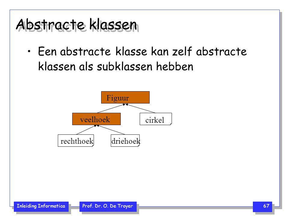 Inleiding Informatica Prof. Dr. O. De Troyer 67 Abstracte klassen Een abstracte klasse kan zelf abstracte klassen als subklassen hebben cirkel rechtho