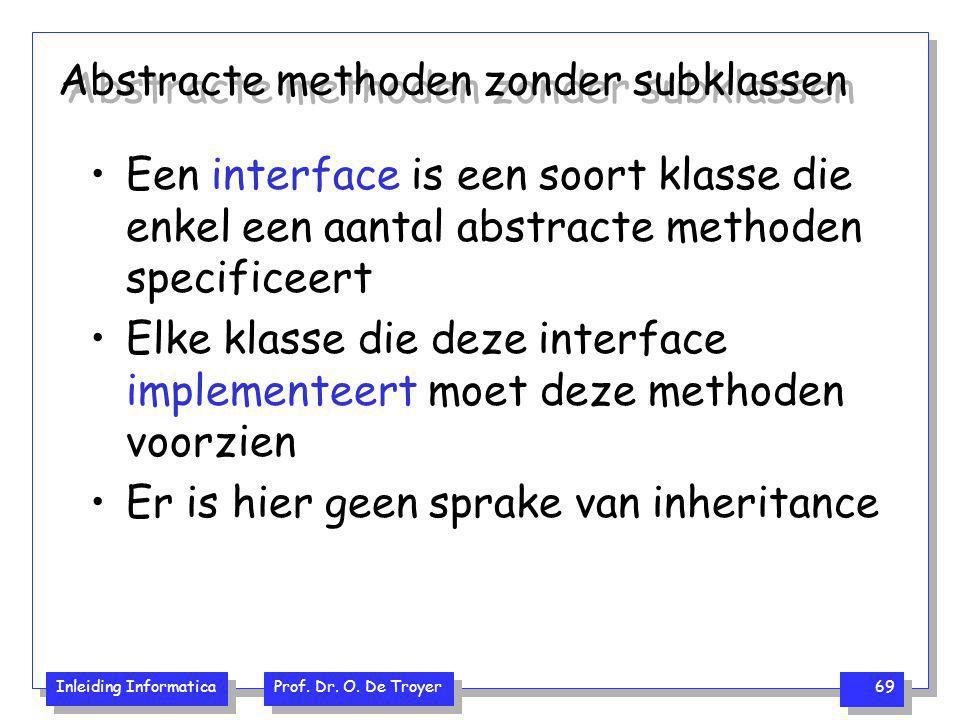 Inleiding Informatica Prof. Dr. O. De Troyer 69 Abstracte methoden zonder subklassen Een interface is een soort klasse die enkel een aantal abstracte