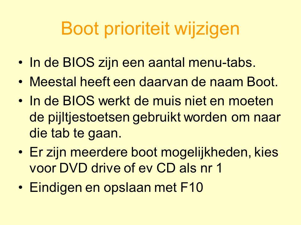 Boot prioriteit wijzigen In de BIOS zijn een aantal menu-tabs. Meestal heeft een daarvan de naam Boot. In de BIOS werkt de muis niet en moeten de pijl