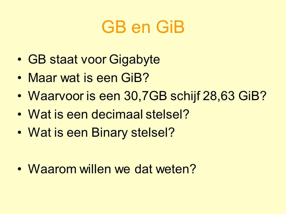 GB en GiB GB staat voor Gigabyte Maar wat is een GiB? Waarvoor is een 30,7GB schijf 28,63 GiB? Wat is een decimaal stelsel? Wat is een Binary stelsel?