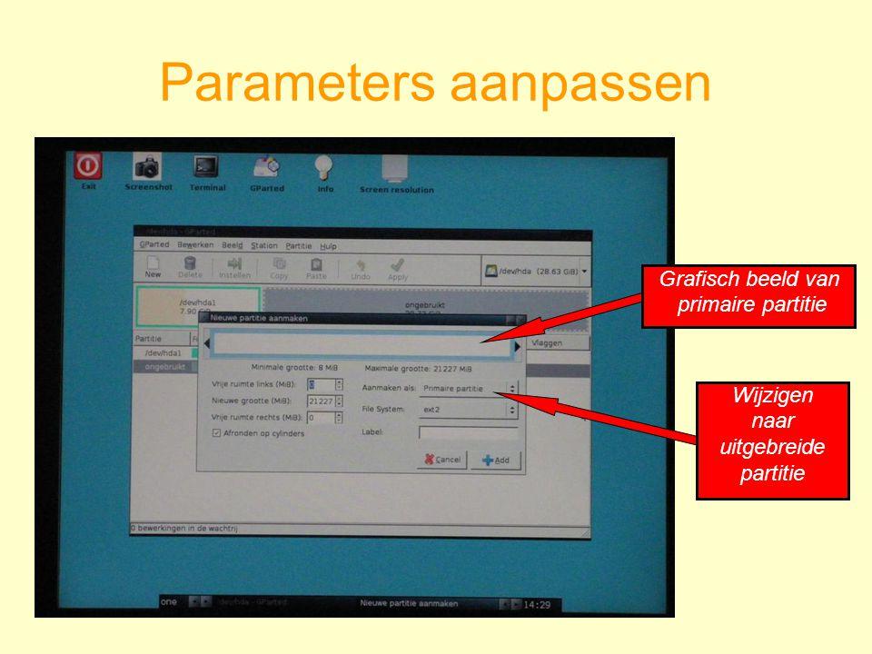 Parameters aanpassen Wijzigen naar uitgebreide partitie Grafisch beeld van primaire partitie
