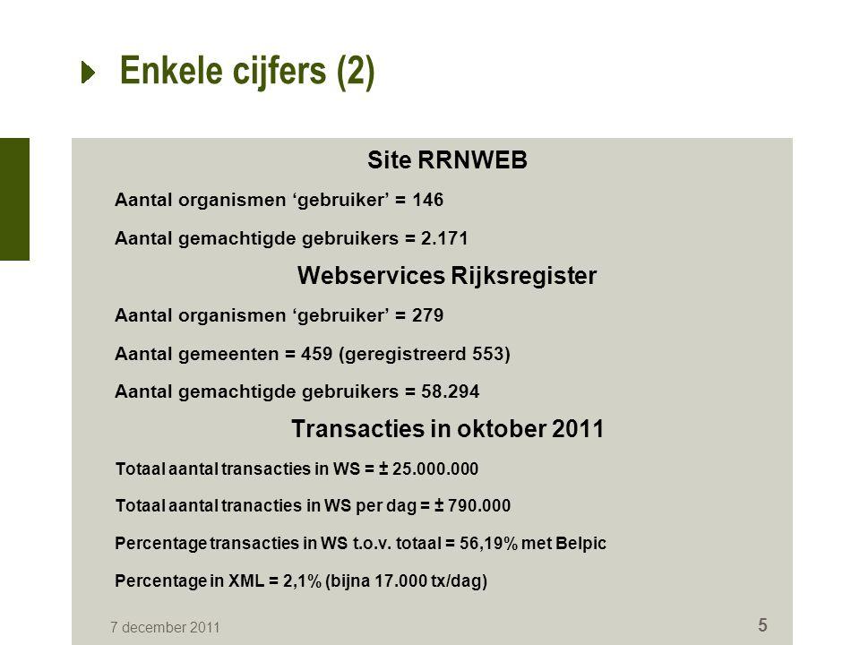 7 december 2011 5 Enkele cijfers (2) Site RRNWEB Aantal organismen 'gebruiker' = 146 Aantal gemachtigde gebruikers = 2.171 Webservices Rijksregister Aantal organismen 'gebruiker' = 279 Aantal gemeenten = 459 (geregistreerd 553) Aantal gemachtigde gebruikers = 58.294 Transacties in oktober 2011 Totaal aantal transacties in WS = ± 25.000.000 Totaal aantal tranacties in WS per dag = ± 790.000 Percentage transacties in WS t.o.v.