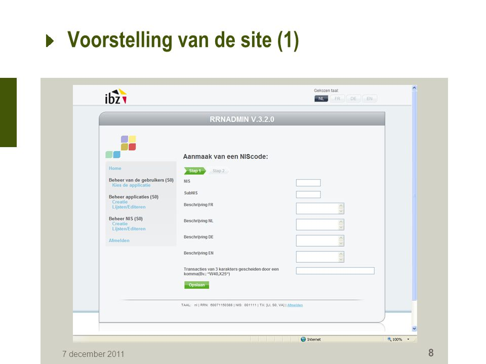 7 december 2011 8 Voorstelling van de site (1)