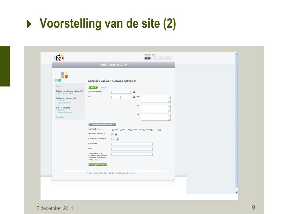 7 december 2011 10 Voorstelling van de site (3)