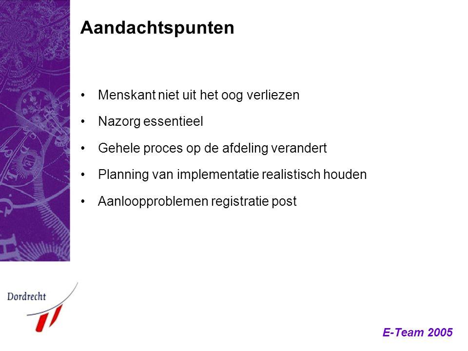 E-Team 2005 Menskant niet uit het oog verliezen Nazorg essentieel Gehele proces op de afdeling verandert Planning van implementatie realistisch houden