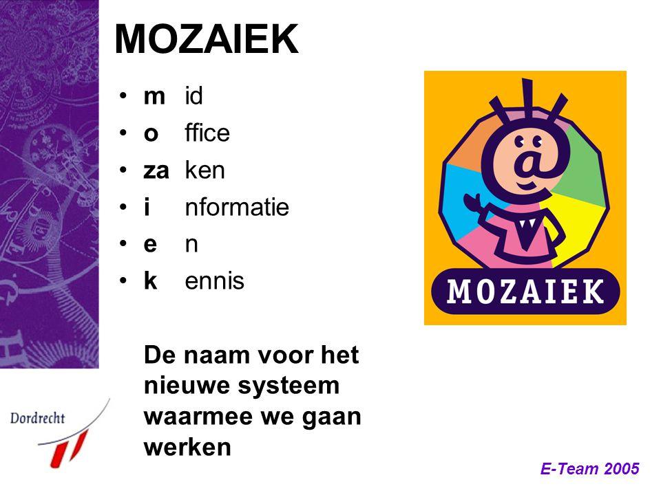 E-Team 2005 MOZAIEK mid office zaken informatie en kennis De naam voor het nieuwe systeem waarmee we gaan werken