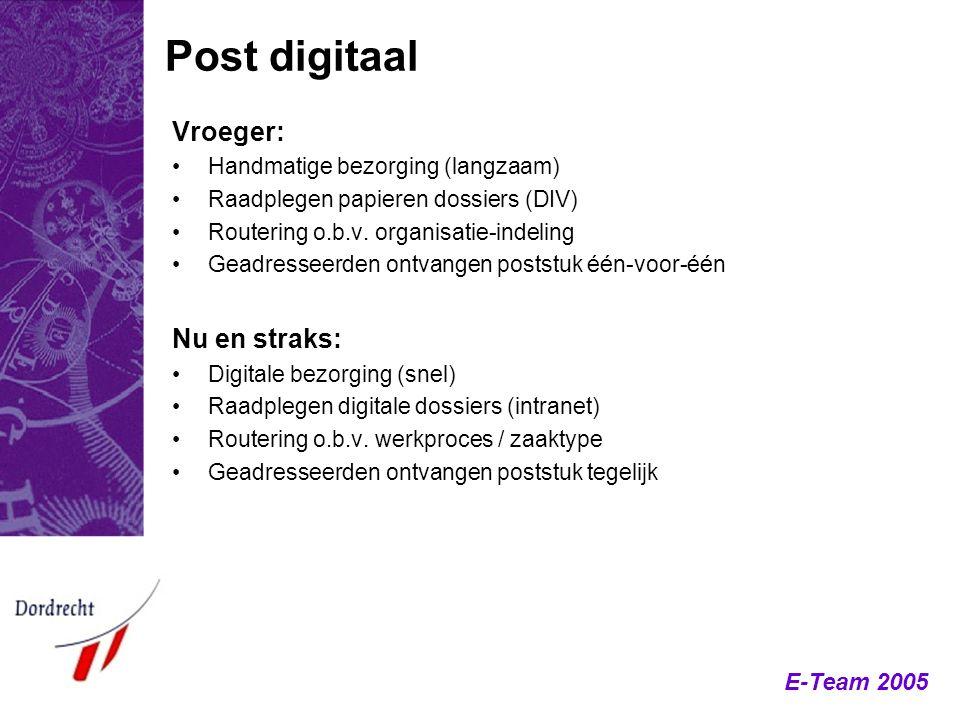 E-Team 2005 Post digitaal Vroeger: Handmatige bezorging (langzaam) Raadplegen papieren dossiers (DIV) Routering o.b.v. organisatie-indeling Geadressee