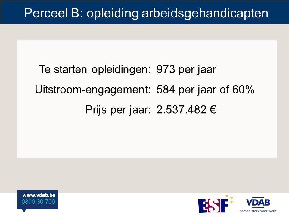 www.vdab.be 0800 30 700 www.vdab.be 0800 30 700 Te starten opleidingen: Uitstroom-engagement: Prijs per jaar: 973 per jaar 584 per jaar of 60% 2.537.482 € Perceel B: opleiding arbeidsgehandicapten