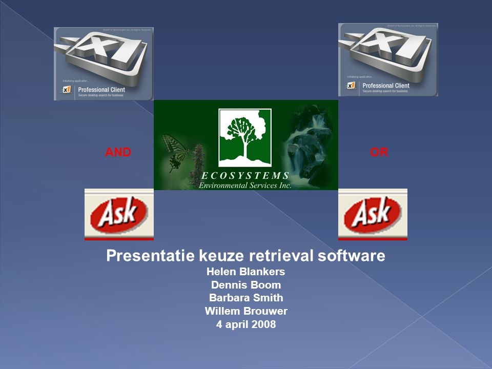 Presentatie keuze retrieval software Helen Blankers Dennis Boom Barbara Smith Willem Brouwer 4 april 2008 ORAND