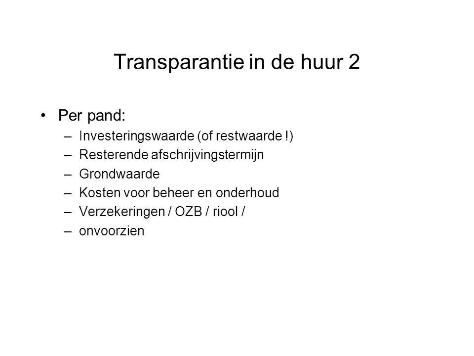 Transparantie in de huur 2 Per pand: –Investeringswaarde (of restwaarde !) –Resterende afschrijvingstermijn –Grondwaarde –Kosten voor beheer en onderh