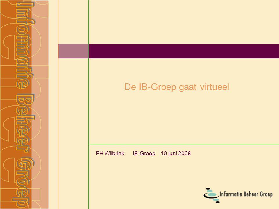 De IB-Groep gaat virtueel FH Wilbrink IB-Groep 10 juni 2008