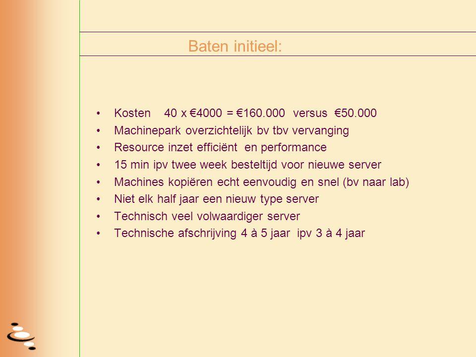 Baten initieel: Kosten 40 x €4000 = €160.000 versus €50.000 Machinepark overzichtelijk bv tbv vervanging Resource inzet efficiënt en performance 15 mi