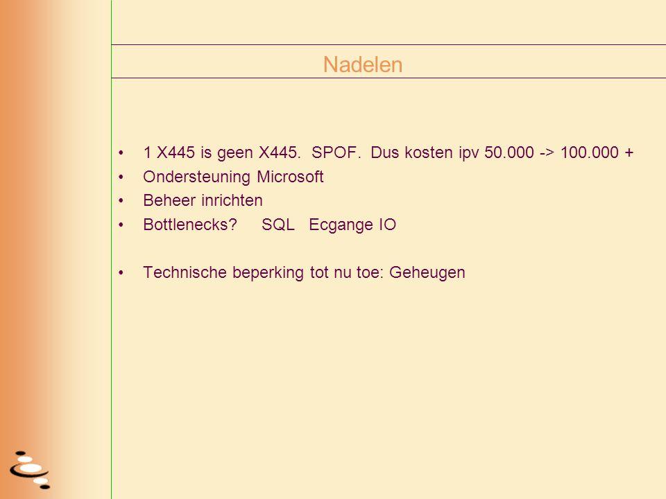 Nadelen 1 X445 is geen X445. SPOF. Dus kosten ipv 50.000 -> 100.000 + Ondersteuning Microsoft Beheer inrichten Bottlenecks? SQL Ecgange IO Technische