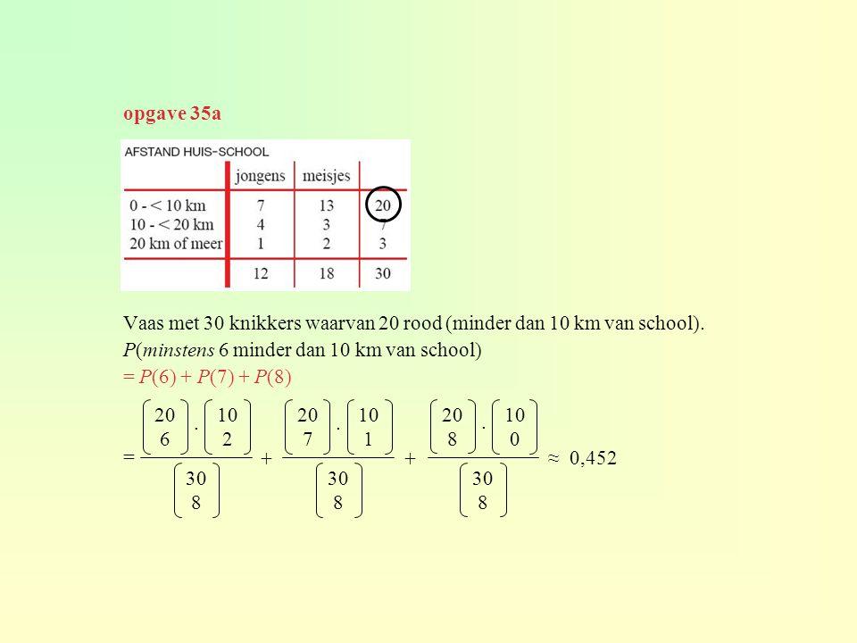 Vaas met 30 knikkers waarvan 20 rood (minder dan 10 km van school). P(minstens 6 minder dan 10 km van school) = P(6) + P(7) + P(8) = 20 6 30 8 10 2. 2