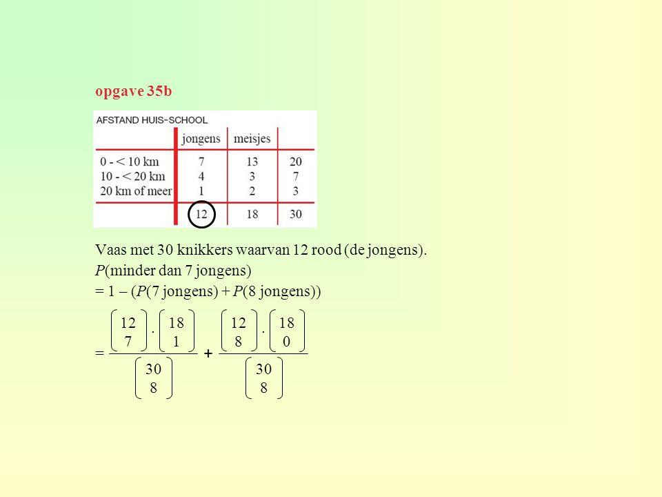 Vaas met 30 knikkers waarvan 12 rood (de jongens). P(minder dan 7 jongens) = 1 – (P(7 jongens) + P(8 jongens)) = 12 7 30 8 18 1. 12 8 30 8 18 0. + opg