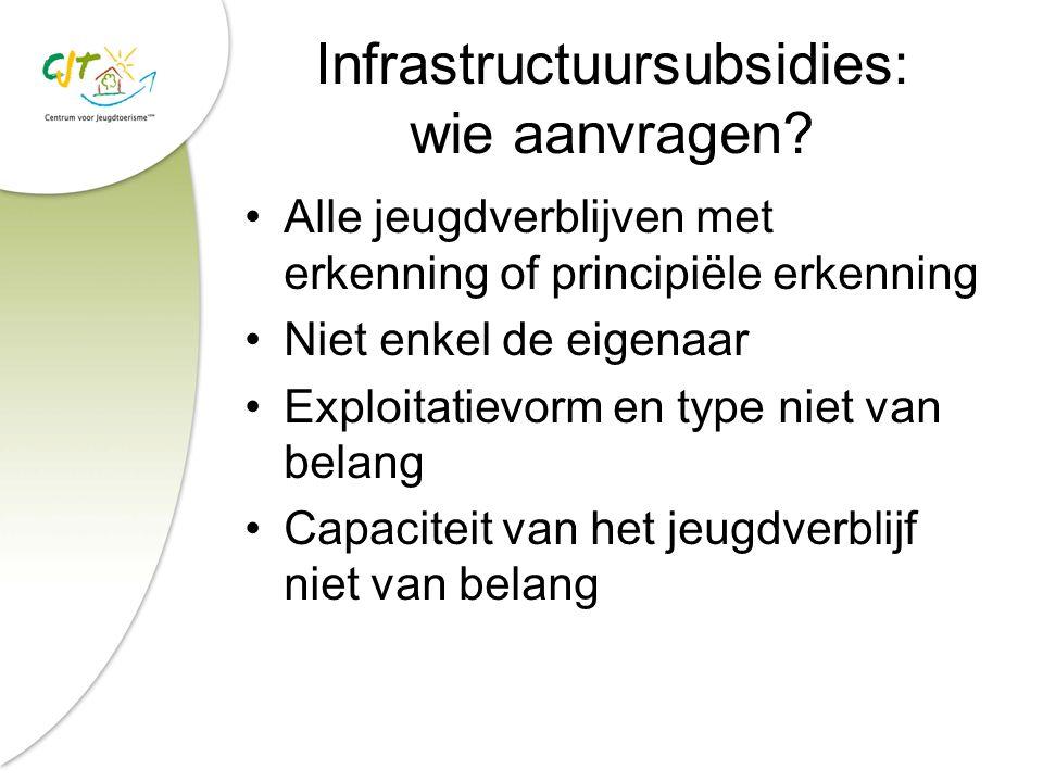 Infrastructuursubsidies: wie aanvragen? Alle jeugdverblijven met erkenning of principiële erkenning Niet enkel de eigenaar Exploitatievorm en type nie