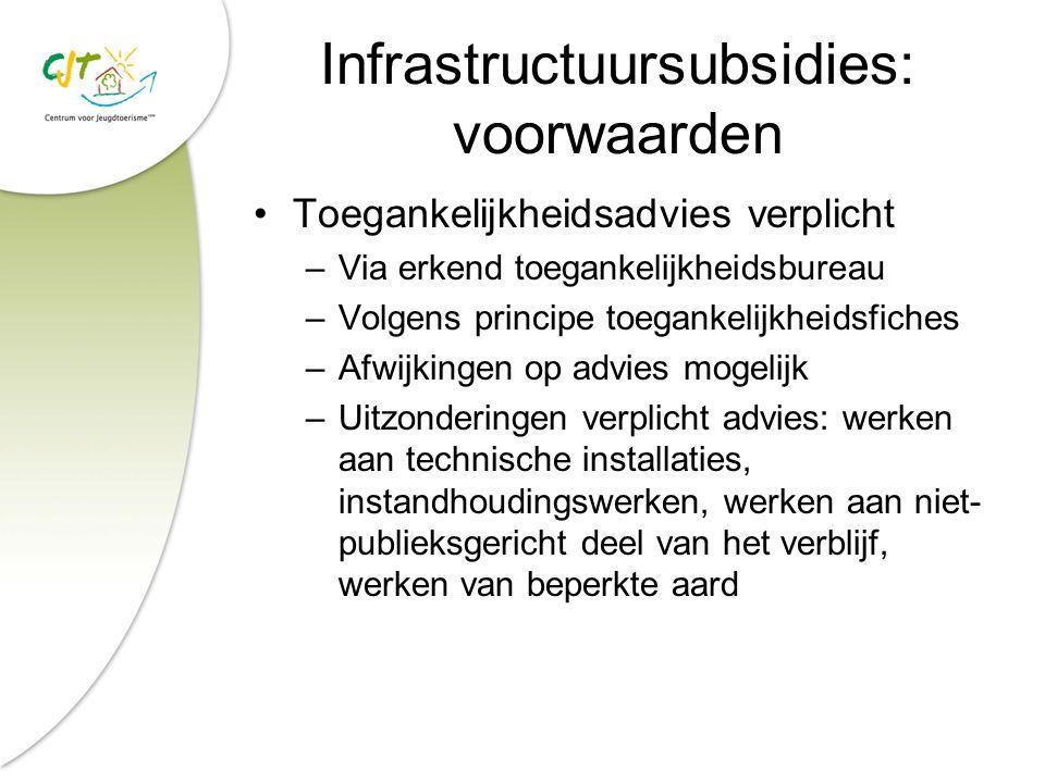 Infrastructuursubsidies: voorwaarden Toegankelijkheidsadvies verplicht –Via erkend toegankelijkheidsbureau –Volgens principe toegankelijkheidsfiches –