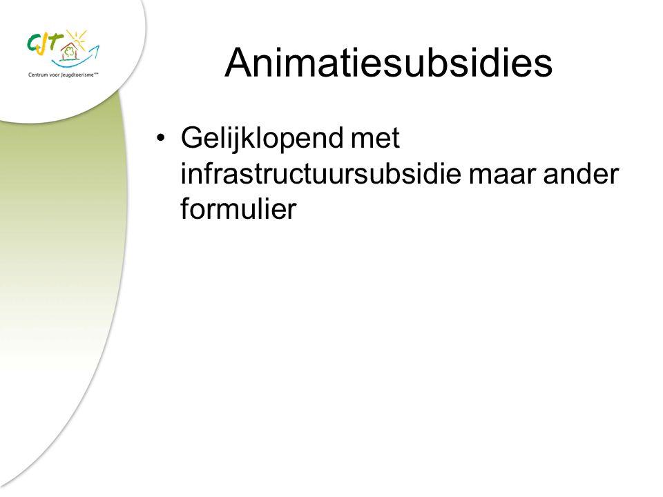 Animatiesubsidies Gelijklopend met infrastructuursubsidie maar ander formulier
