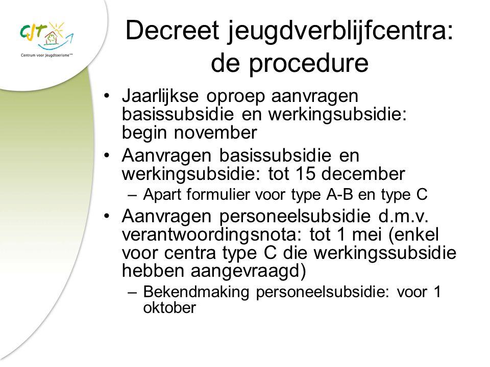Decreet jeugdverblijfcentra: de procedure Jaarlijkse oproep aanvragen basissubsidie en werkingsubsidie: begin november Aanvragen basissubsidie en werk