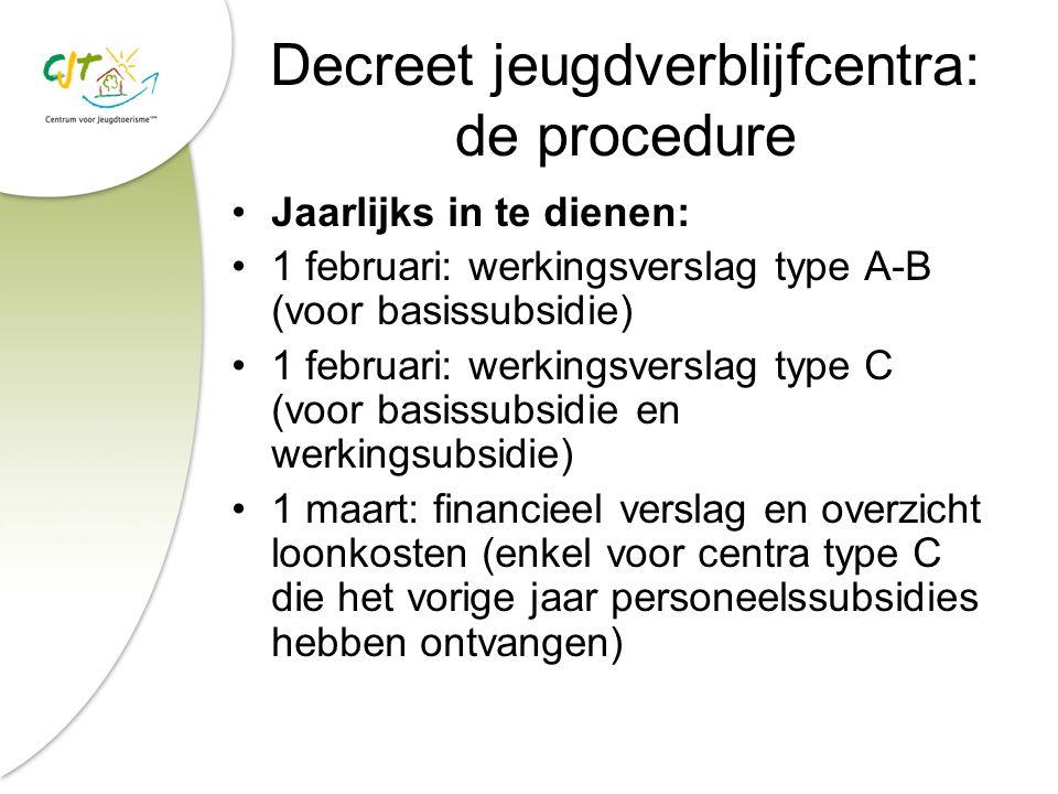 Decreet jeugdverblijfcentra: de procedure Jaarlijks in te dienen: 1 februari: werkingsverslag type A-B (voor basissubsidie) 1 februari: werkingsversla