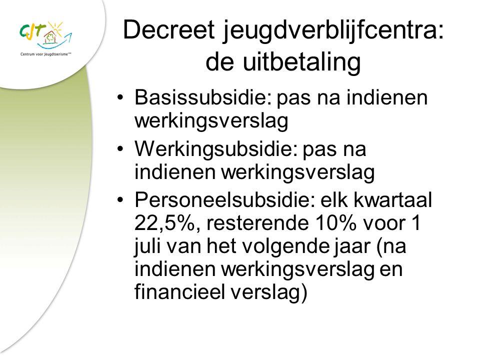Decreet jeugdverblijfcentra: de uitbetaling Basissubsidie: pas na indienen werkingsverslag Werkingsubsidie: pas na indienen werkingsverslag Personeels