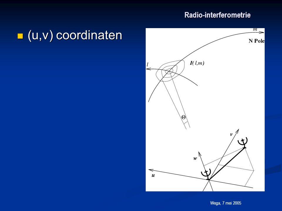 Wega, 7 mei 2005 Radio-interferometrie (u,v) coordinaten (u,v) coordinaten
