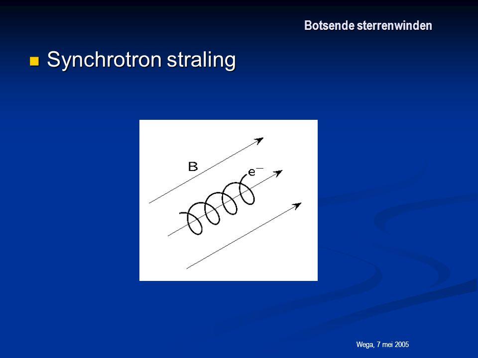 Wega, 7 mei 2005 Botsende sterrenwinden Synchrotron straling Synchrotron straling