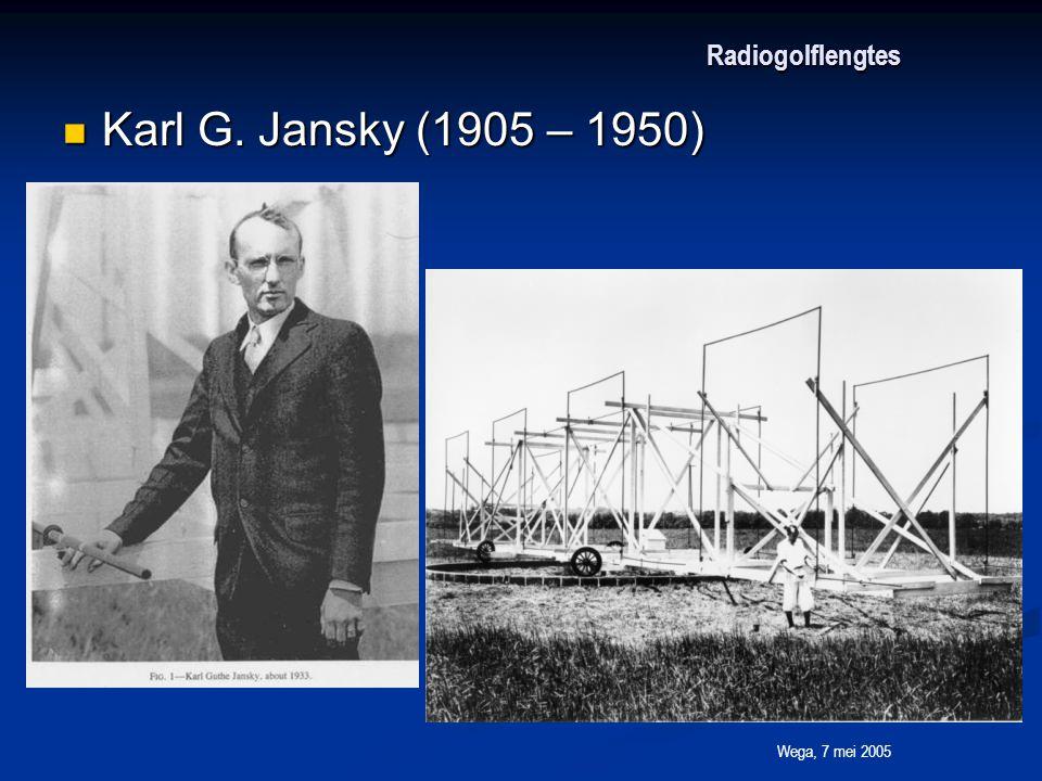 Wega, 7 mei 2005 Radiogolflengtes Karl G. Jansky (1905 – 1950) Karl G. Jansky (1905 – 1950)