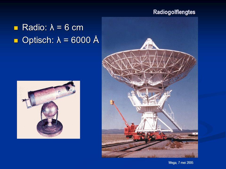Wega, 7 mei 2005 10 5 Radiogolflengtes Radio: λ = 6 cm Radio: λ = 6 cm Optisch: λ = 6000 Å = 0.00006 cm Optisch: λ = 6000 Å = 0.00006 cm