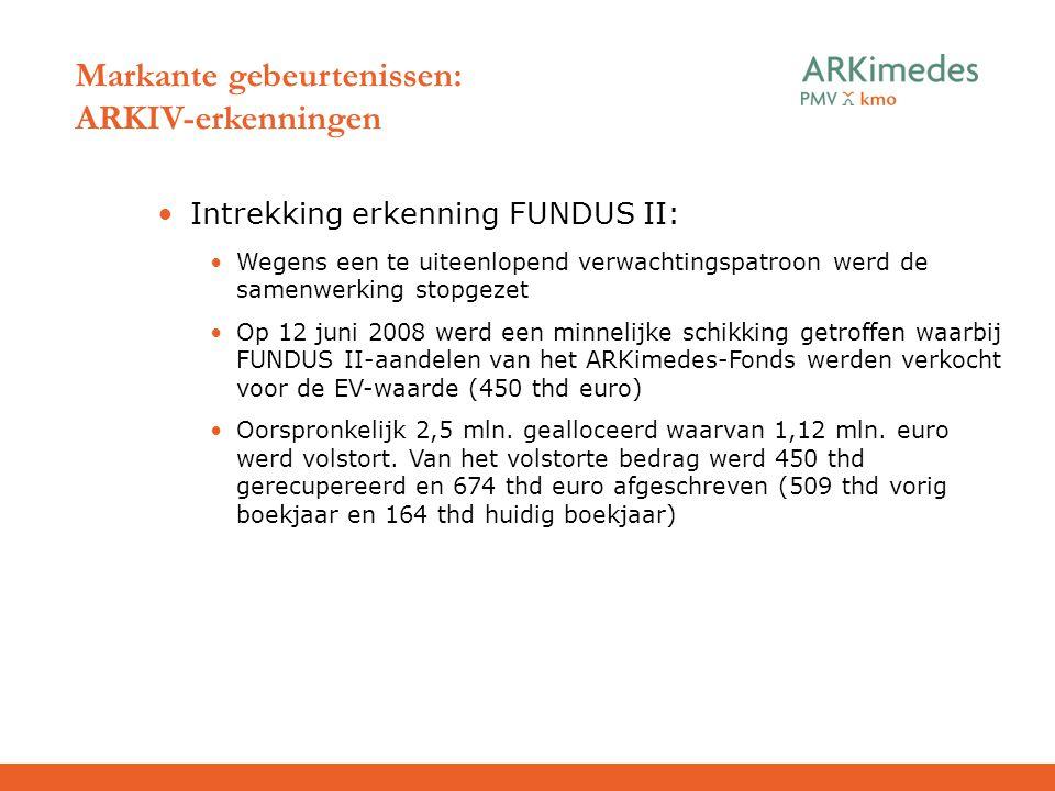 Markante gebeurtenissen: ARKIV-erkenningen Intrekking erkenning FUNDUS II: Wegens een te uiteenlopend verwachtingspatroon werd de samenwerking stopgez