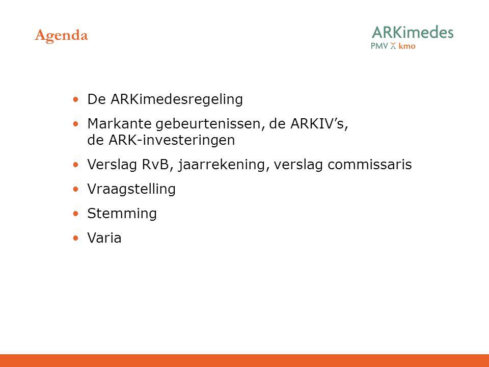 Agenda De ARKimedesregeling Markante gebeurtenissen, de ARKIV's, de ARK-investeringen Verslag RvB, jaarrekening, verslag commissaris Vraagstelling Ste