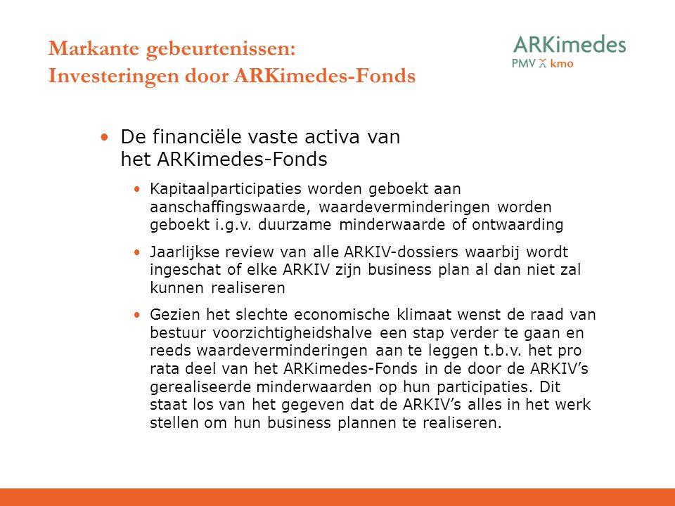 Markante gebeurtenissen: Investeringen door ARKimedes-Fonds De financiële vaste activa van het ARKimedes-Fonds Kapitaalparticipaties worden geboekt aa