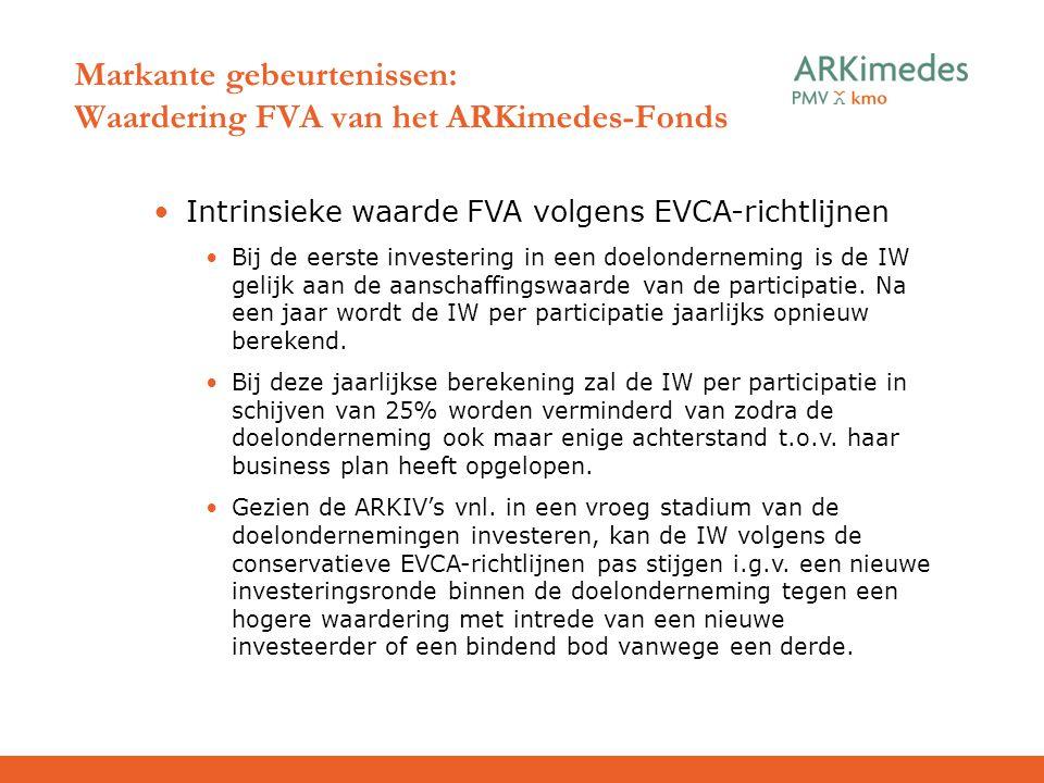 Intrinsieke waarde FVA volgens EVCA-richtlijnen Bij de eerste investering in een doelonderneming is de IW gelijk aan de aanschaffingswaarde van de par