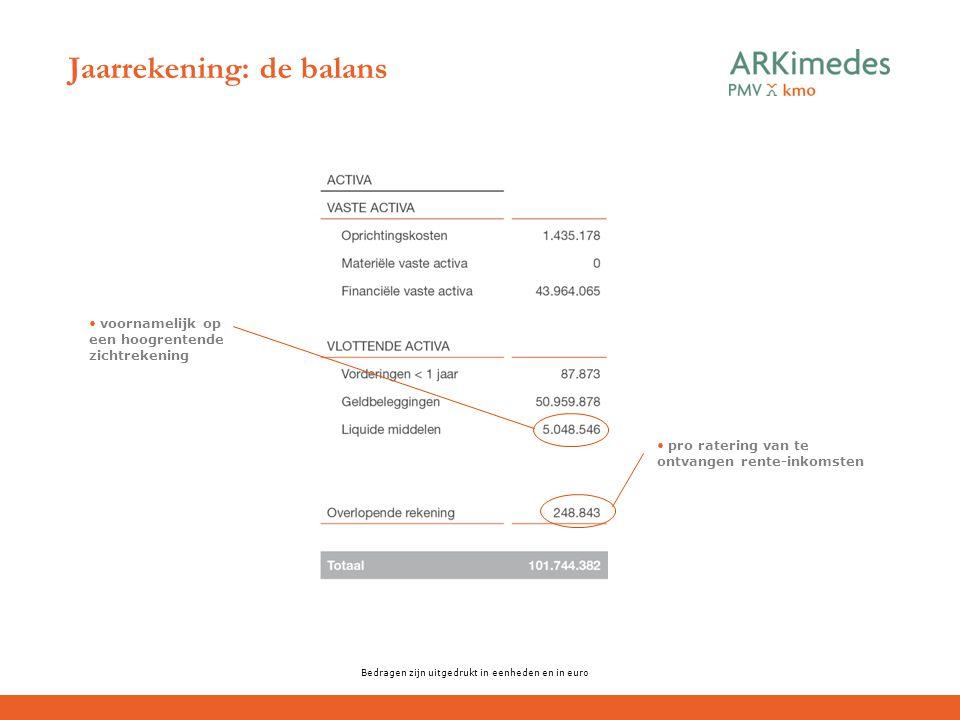 Jaarrekening: de balans Bedragen zijn uitgedrukt in eenheden en in euro pro ratering van te ontvangen rente-inkomsten voornamelijk op een hoogrentende