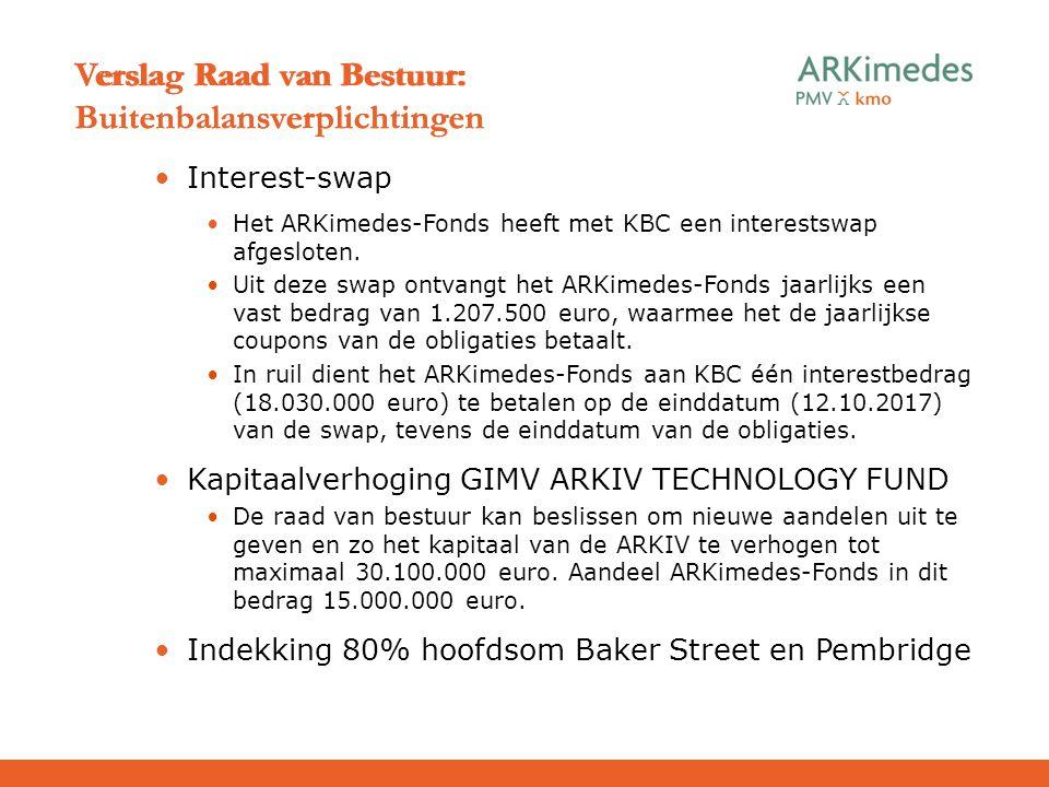 Interest-swap Het ARKimedes-Fonds heeft met KBC een interestswap afgesloten. Uit deze swap ontvangt het ARKimedes-Fonds jaarlijks een vast bedrag van