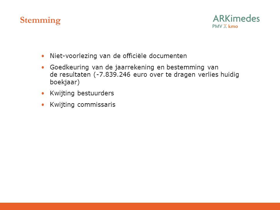 Stemming Niet-voorlezing van de officiële documenten Goedkeuring van de jaarrekening en bestemming van de resultaten (-7.839.246 euro over te dragen v