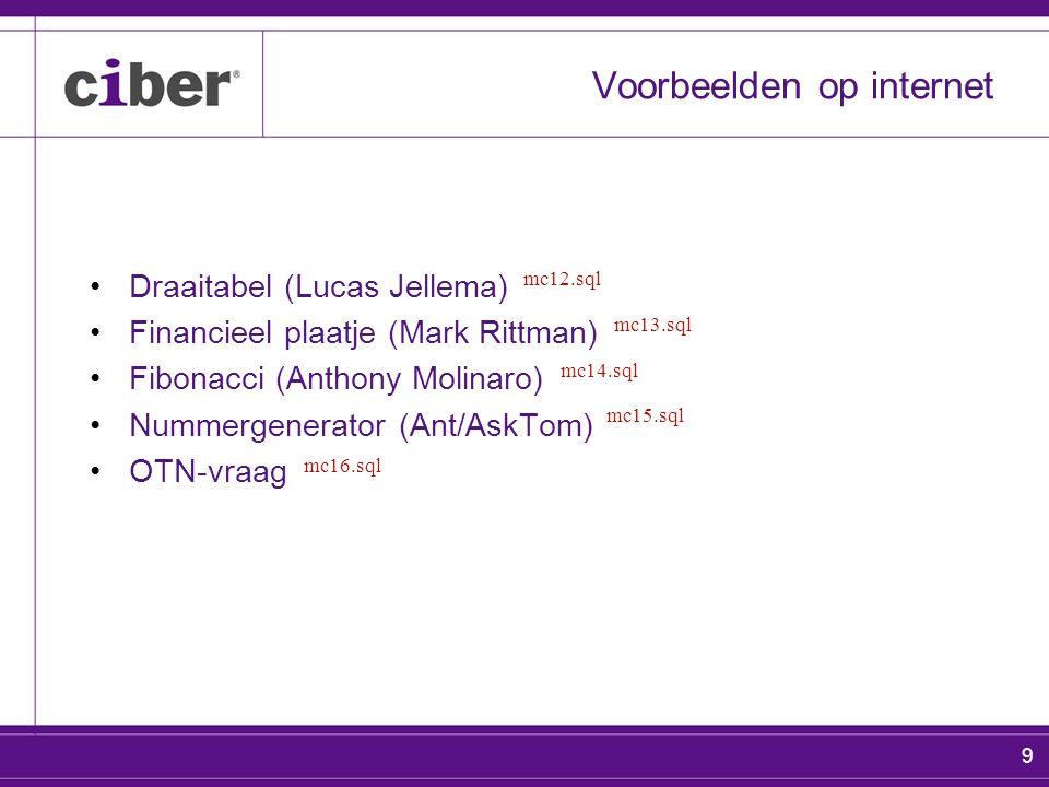 9 Voorbeelden op internet Draaitabel (Lucas Jellema) Financieel plaatje (Mark Rittman) Fibonacci (Anthony Molinaro) Nummergenerator (Ant/AskTom) OTN-vraag mc12.sql mc13.sql mc14.sql mc15.sql mc16.sql
