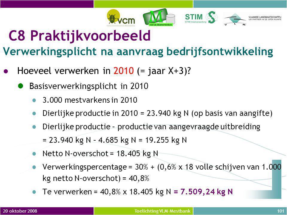 20 oktober 2008101Toelichting VLM-Mestbank C8 Praktijkvoorbeeld Verwerkingsplicht na aanvraag bedrijfsontwikkeling ●Hoeveel verwerken in 2010 (= jaar X+3).